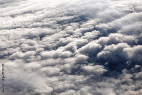 Clouds seen from airplane, concept of weather and climate change, cyclones and a Canvas Print