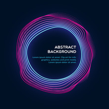 Radial Abstract Background With A Colored Dynamic Waves, Lines And Particles. Vector Illustration.