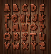 Font Design For English Alphabets With Brown Color