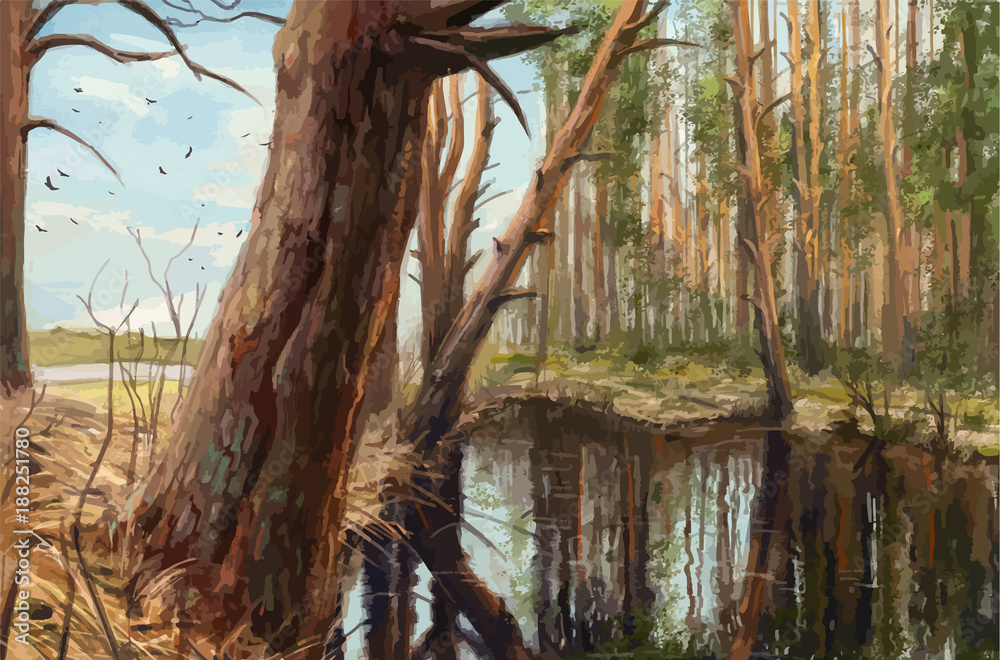 Morning in the pine forest, realistic painting