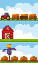 Three Farm Scenes With Tractor...