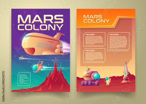 Vector mars colonization banner infographics template set Canvas Print