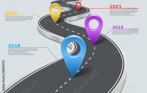 Vector company corporate milestone, history timeline, business presentation layout, infographic strategic plan workflow, grey background. Car road with marks, years, pointers, concept template