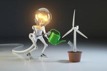 Robot Lamp Watering Wind Gener...