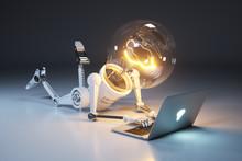 Personage Light Bulb Robot And...
