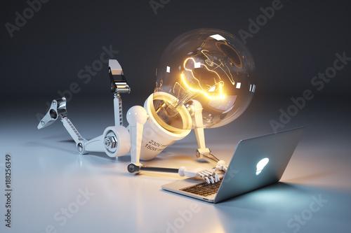 Fotografie, Obraz  Personage light bulb robot and laptop