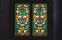 Coloured Stained Glass In Dark Background
