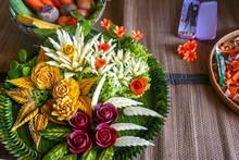 Display Of Carved Vegetables In Thailand