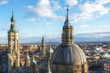 Panoramic view of Zaragoza from the Cathedral-Basilica of Our Lady of the Pillar, Spain.