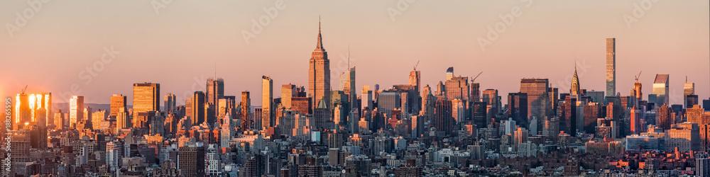 Fototapety, obrazy: New York Skyline Panorama bei Sonnenuntergang, USA