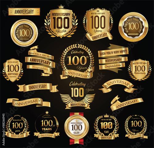 Fotografía  Anniversary retro vintage badges and labels vector illustration