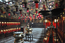 Inside The Little Hong Kong Tin Hau Temple With Lots Of Wishes Lanterns And Incense