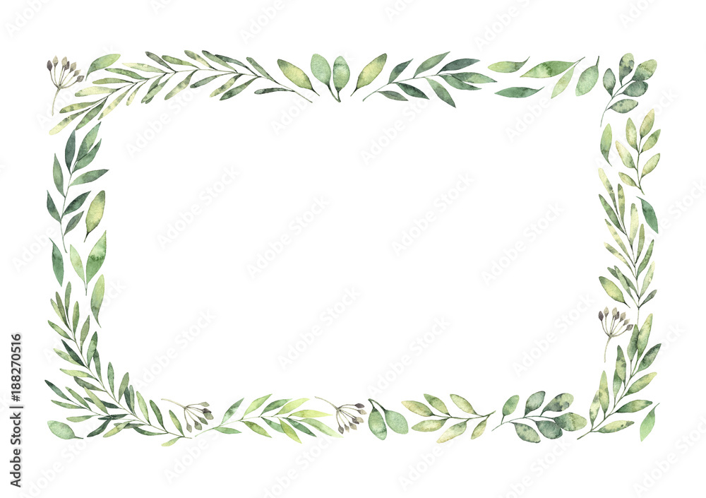 Fototapety, obrazy: Hand drawn watercolor illustration. Botanical rectangular border with green branches and leaves. Spring mood. Floral Design elements. Perfect for invitations, greeting cards, prints, posters