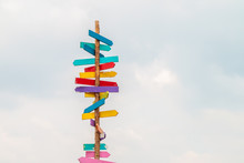 Colorful Wooden Direction Arro...
