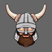 A Vector Illustration Of A Skull Wearing A Viking Helmet. Print, Logo, Poster, For Your Design.