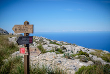 Pointer On The Way. Tramuntana. GR221 In Mountains Of Mallorca. Bokeh.