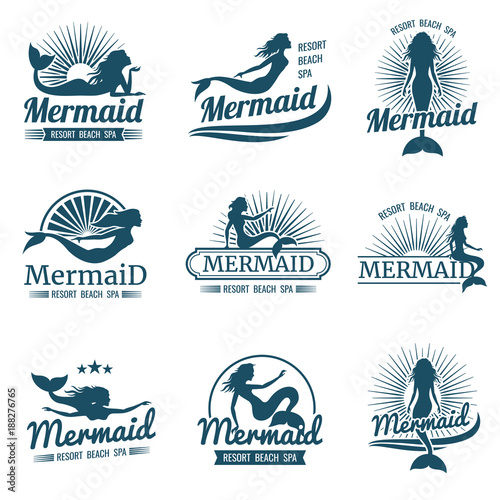 Canvas Print Mermaid silhouette stylized vector logos collection