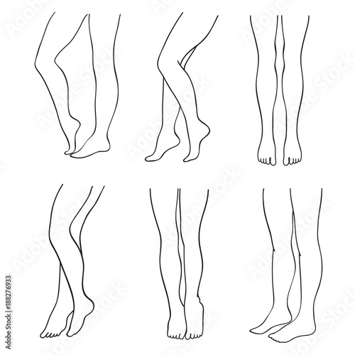 Fotografía Outline attractive female legs vector set