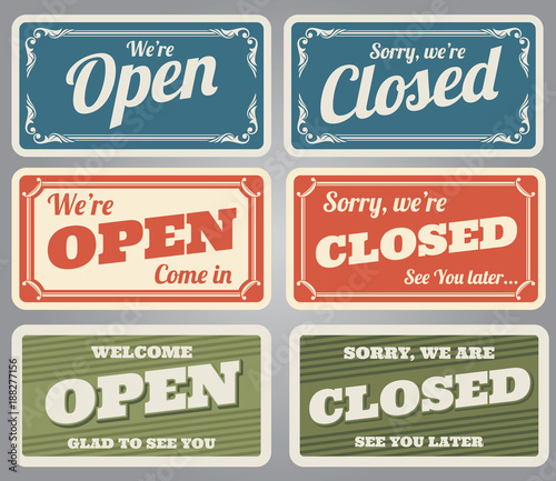Obraz Vintage open and closed vector shop signs - fototapety do salonu