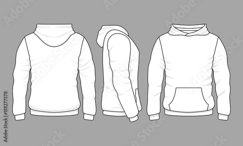 Fotografie, Obraz  Male hoodie sweatshirt in front, back and side views