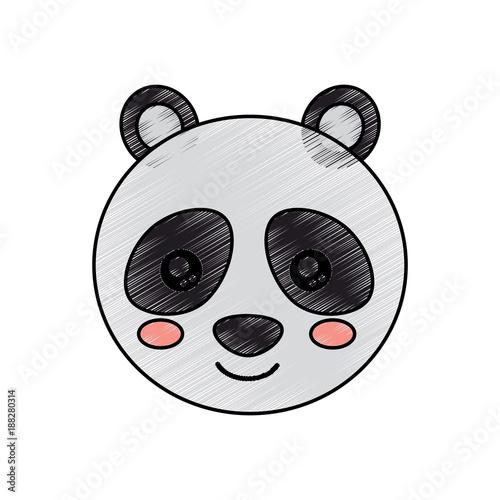 Cute Animal Panda Bear Head Baby Vector Illustration Drawing Design