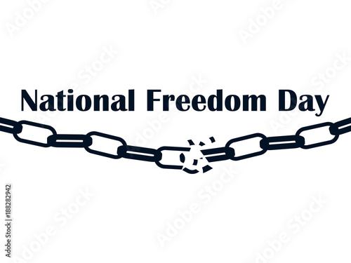 National Freedom Day 1st Of February Broken Chain Isolated On White Background Vector