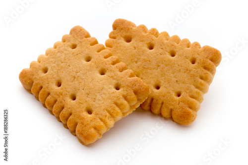 Foto Tasty cookies biscuits on the  isolated background.