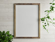 canvas print picture - Wooden free frame with green plant on wooden wall, 3d render, 3d illustration