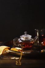 Small Glass Teapot And Glasses...