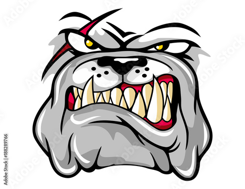 Fotografie, Tablou  illustration of angry bulldog mascot cartoon character in vector