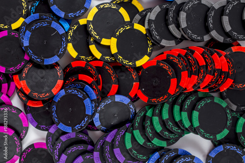 Gaming chips. Isolated on white background плакат