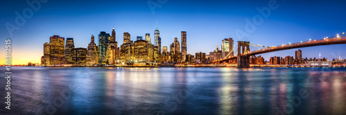 Foto op Canvas New York City New York City skyline Panorama mit Brooklyn Bridge