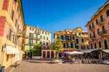 Fototapeta Uliczki - Narrow streets and traditional buildings of Celle Ligure, Liguria, Italy