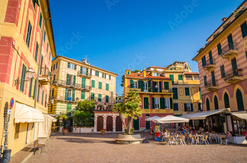 Photo sur Aluminium Ligurie Narrow streets and traditional buildings of Celle Ligure, Liguria, Italy