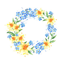 Floral Frame With Yellow And B...