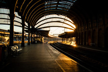 The Inside Of York Train Station In The Evening.