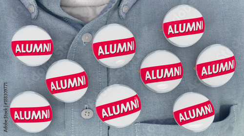 Alumni Buttons Pins Shirt College Graduate Student Pride 3d Illustration Canvas Print
