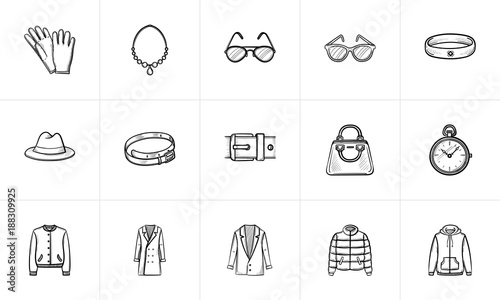 Clothing and accessory sketch icon set for web, mobile and infographics Wallpaper Mural