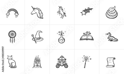 Magic and fairytale theme sketch icon set for web, mobile and infographics Canvas Print