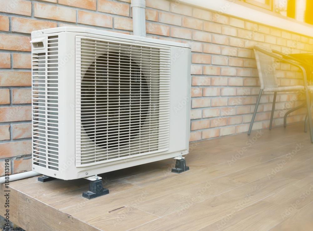 Fotografiet Poster Air Conditioner Compressor Outside Unit