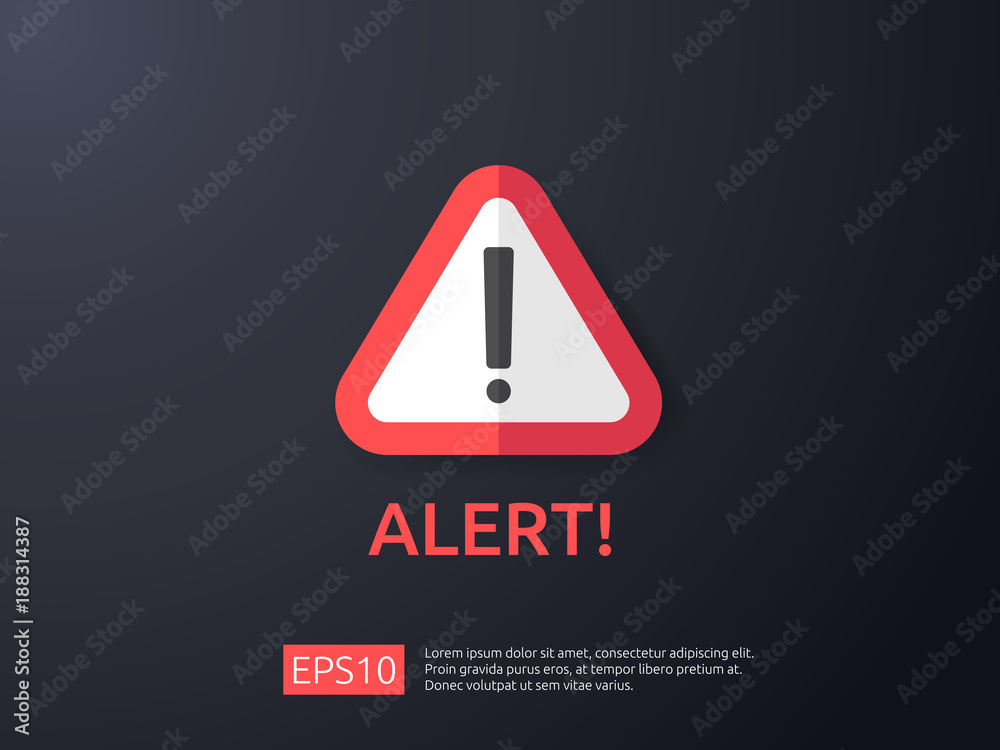 Fototapeta attention warning alert sign with exclamation mark symbol. shield line icon for Internet VPN Security protection Concept vector illustration.