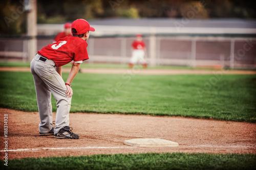 Youth Baseball game, third base