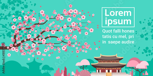 Tuinposter Groene koraal Sakura Blossom Over Korea Temple Or Palace Landscape South Korean Famous Landmark View Flat Vector Illustration