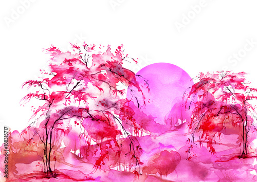 Watercolor forest, red, bearded silhouette of trees, bushes, willow, birch. Field. Country view. Postcard, logo, card. Night, sunrise, sunset, pink silhouette of trees. Art illustration.