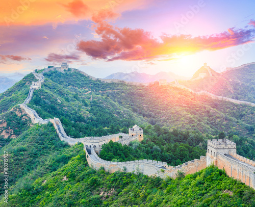 Muraille de Chine Great Wall of China at the jinshanling section,sunset landscape panoramic view