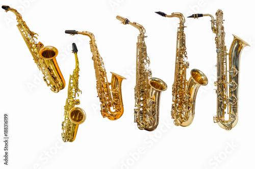 Fényképezés saxophone isolated on white background, group of saxophones