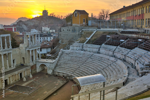 Canvas Prints Eastern Europe Remainings of Ancient Roman theatre of Philippopolis in Plovdiv at sunset, Aerial view of the roman amphitheater, Plovdiv, Bulgaria