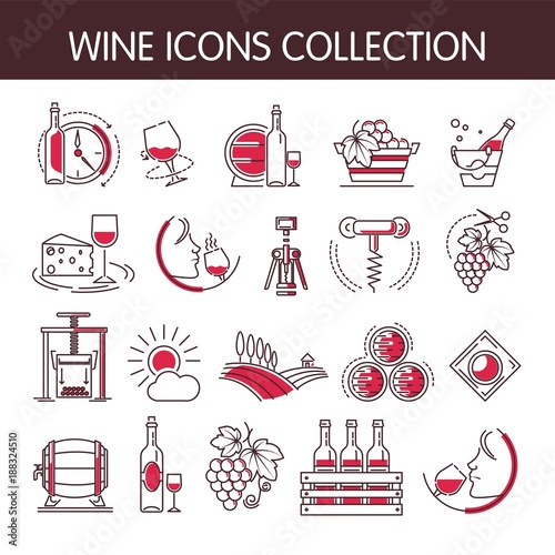 Wine icons vector collection set for winemaking or winery production industry Slika na platnu