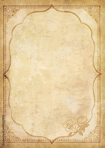Old grungy vintage paper blank with curly oriental frame Wall mural