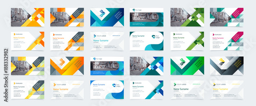 Fotografie, Obraz  Vector creative business card template with triangles, squares, round, waves for business, technology